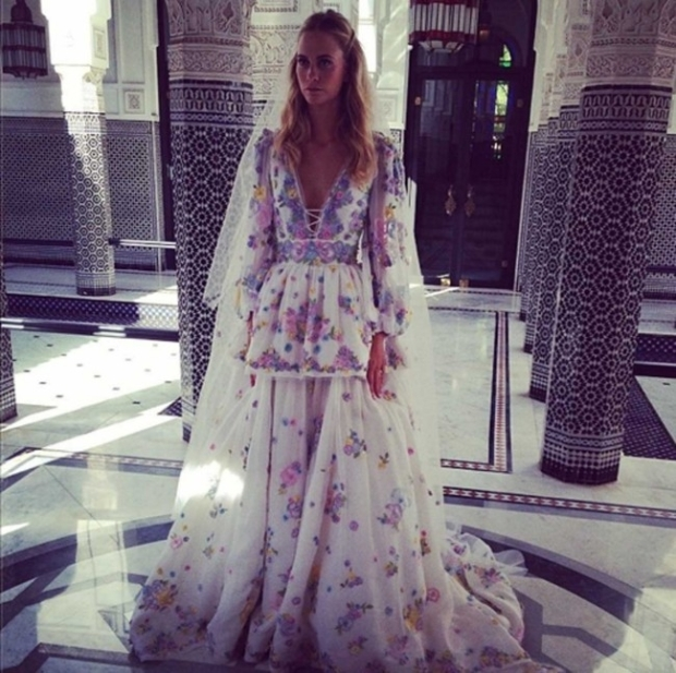 Poppy Delevingne dressed in a Peter Dundas for Emilio Pucci dress for her Maraketch wedding