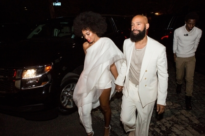 Solange attends with husband Alan Ferguson to the wedding afterparty dressed in a Stéphane Rolland Spring 2014 Couture asymmetrical one-leg jumpsuit