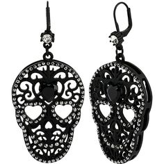 Betsey Johnson Blackout Filigree Skull Drop Earrings 23 € / Pic: Polyvore