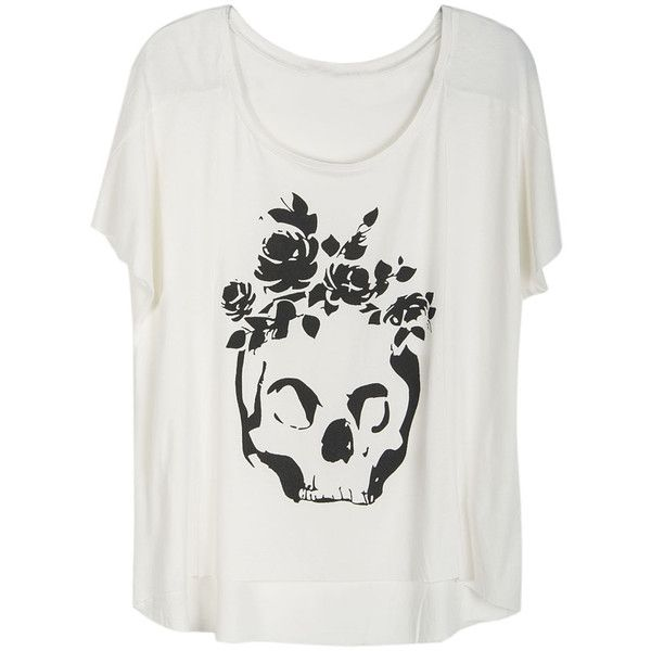 Choies White T-shirt With Rose Skull Print 18 € / Pic: Polyvore